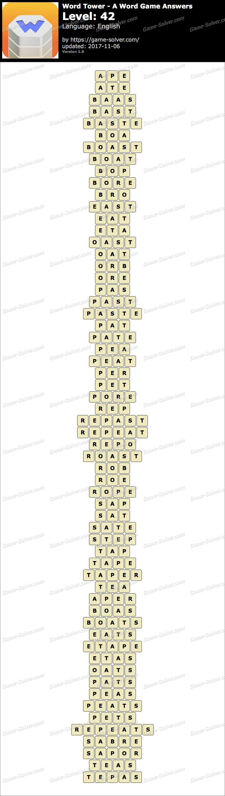 Word Tower Level 42 Answers