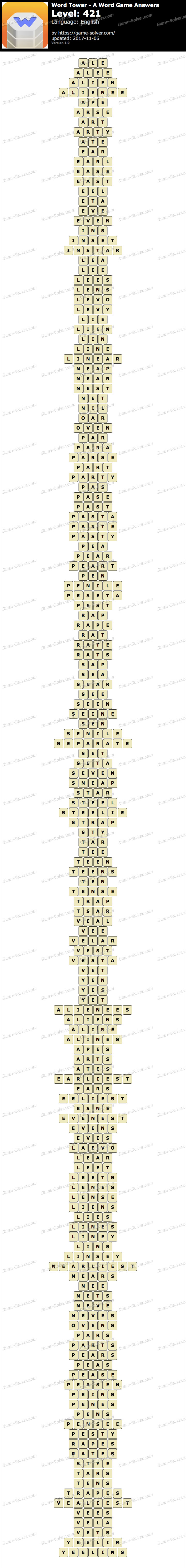 Word Tower Level 421 Answers