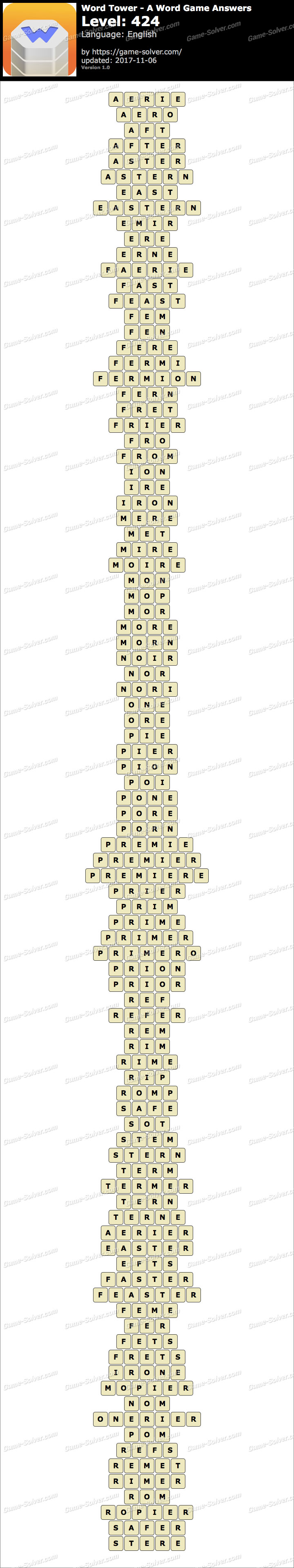 Word Tower Level 424 Answers