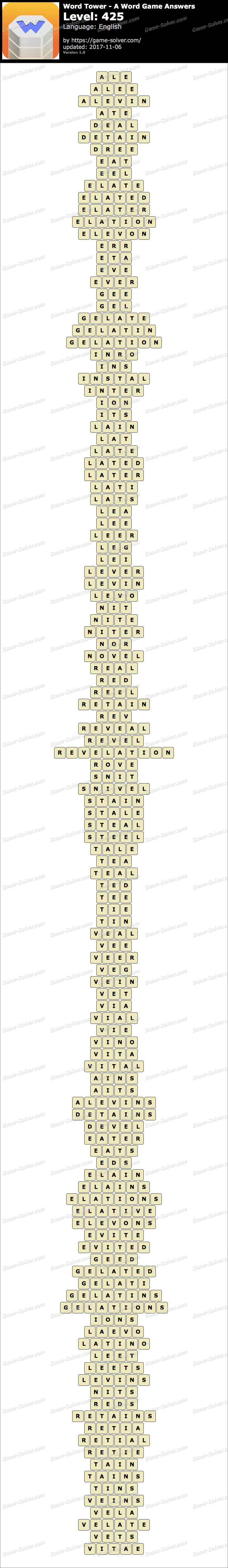 Word Tower Level 425 Answers