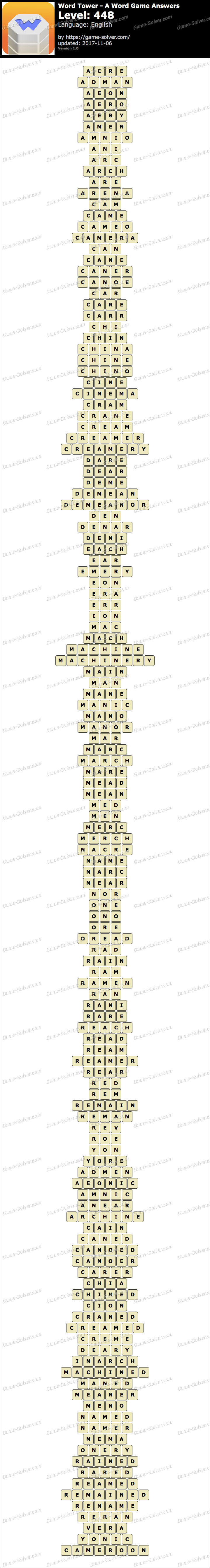 Word Tower Level 448 Answers