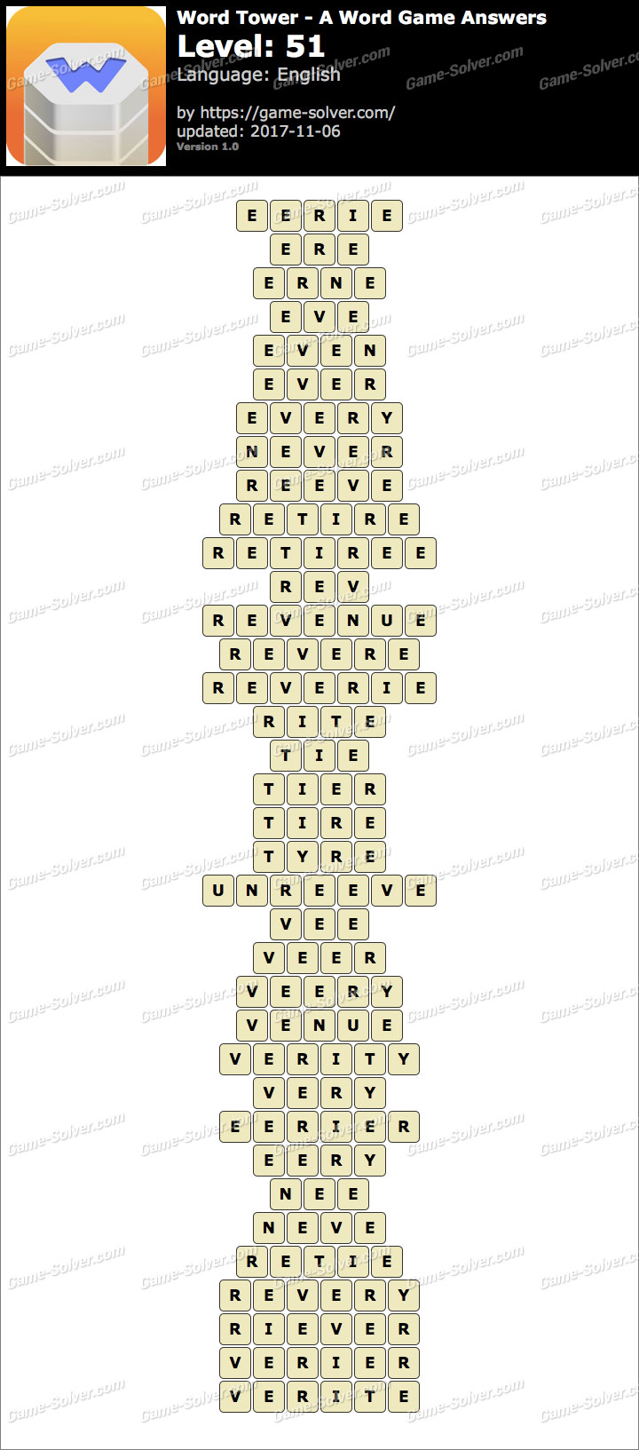 Word Tower Level 51 Answers