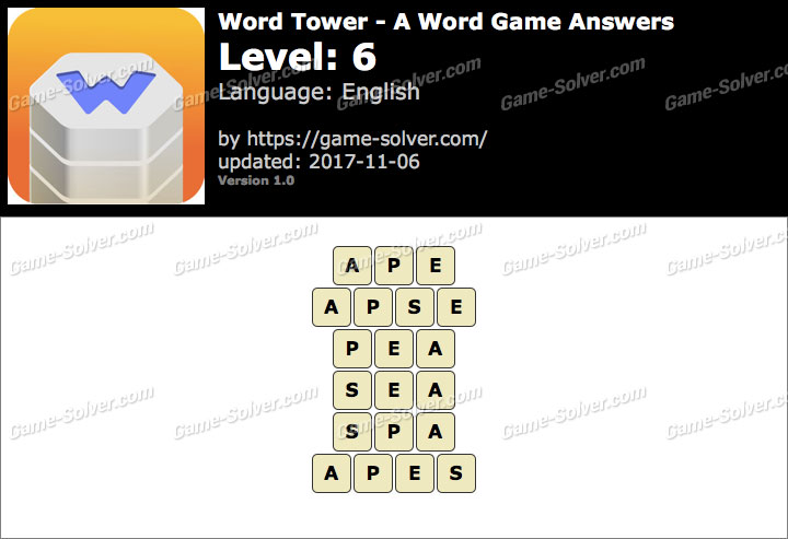 Word Tower Level 6 Answers