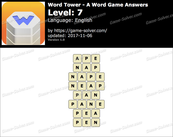 Word Tower Level 7 Answers