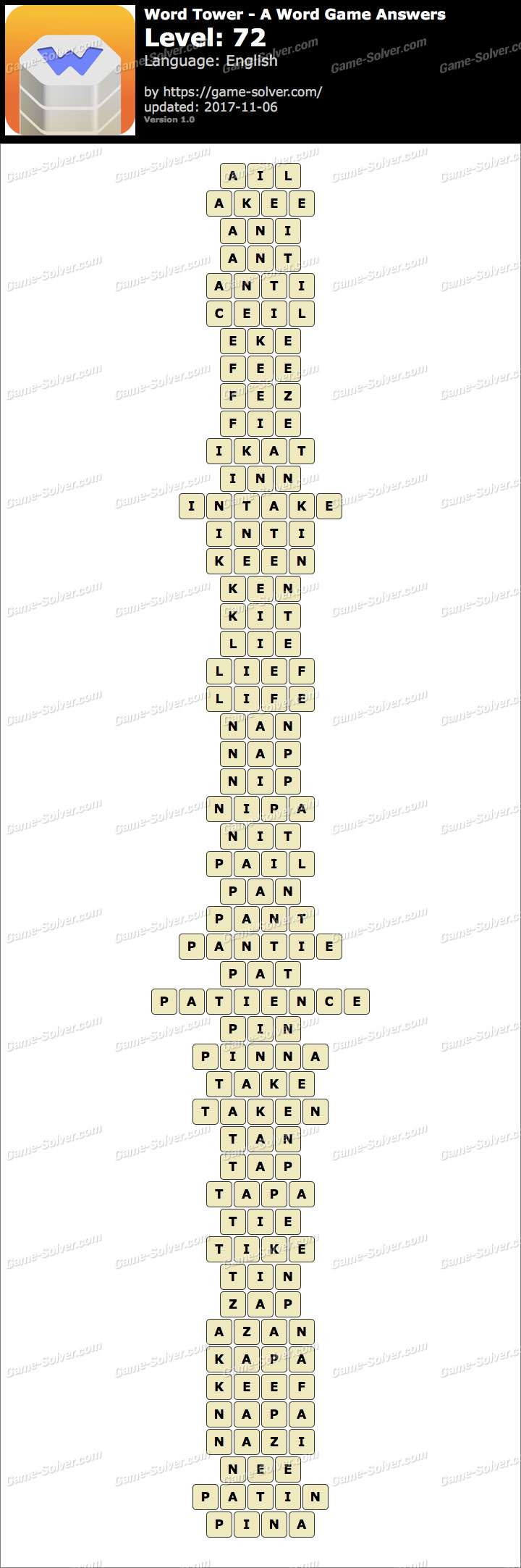 Word Tower Level 72 Answers