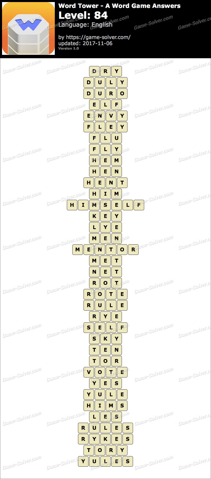 Word Tower Level 84 Answers