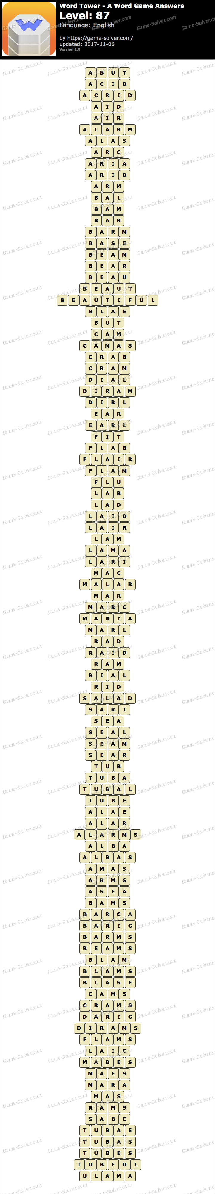 Word Tower Level 87 Answers