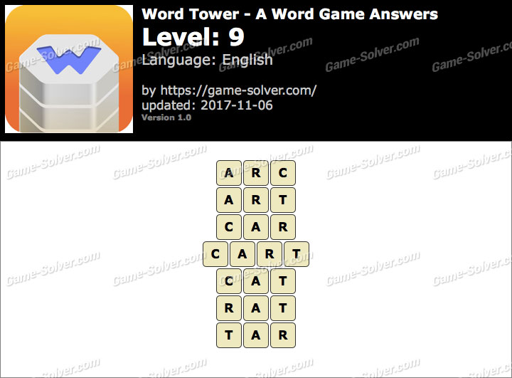 Word Tower Level 9 Answers