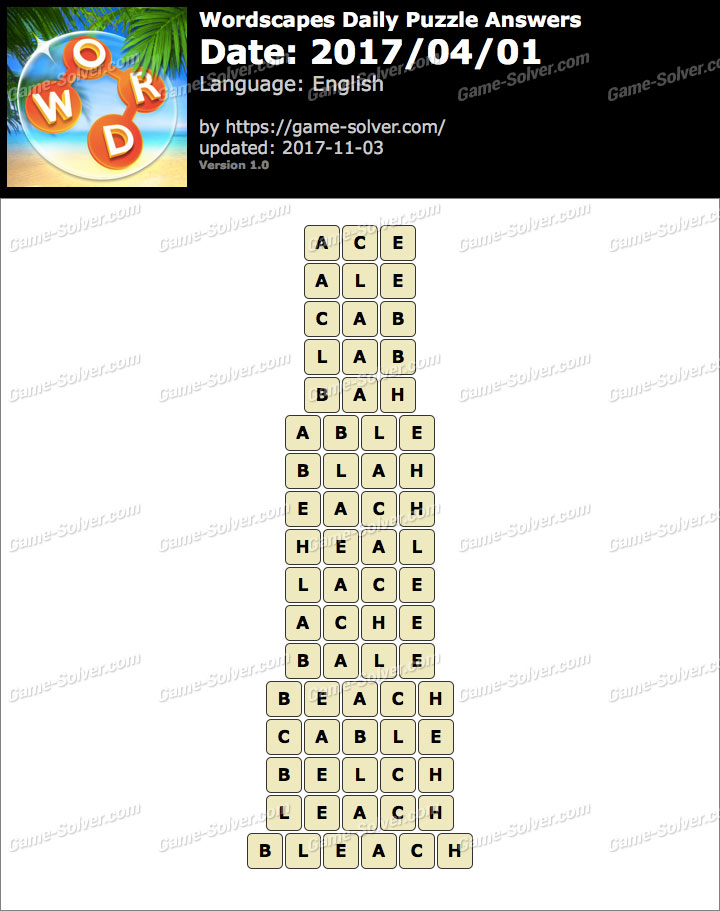Wordscapes Daily Puzzle 2017 April 01 Answers