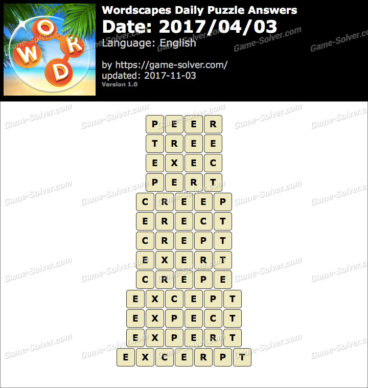 Wordscapes Daily Puzzle 2017 April 03 Answers