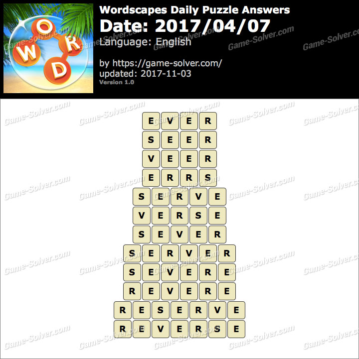 Wordscapes Daily Puzzle 2017 April 07 Answers