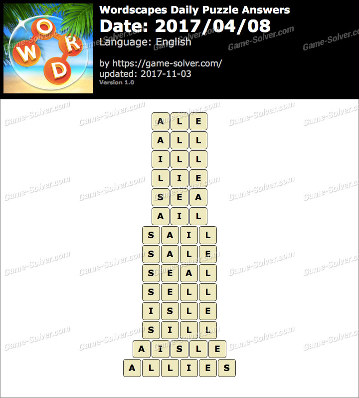 Wordscapes Daily Puzzle 2017 April 08 Answers