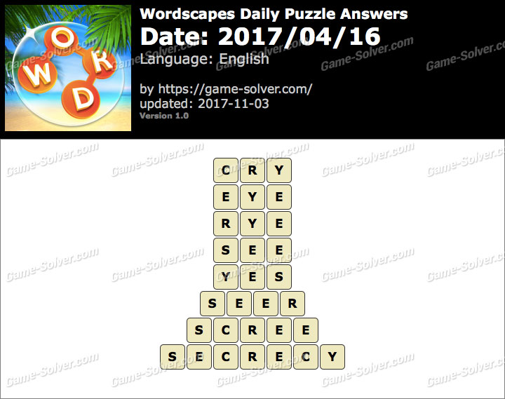 Wordscapes Daily Puzzle 2017 April 16 Answers