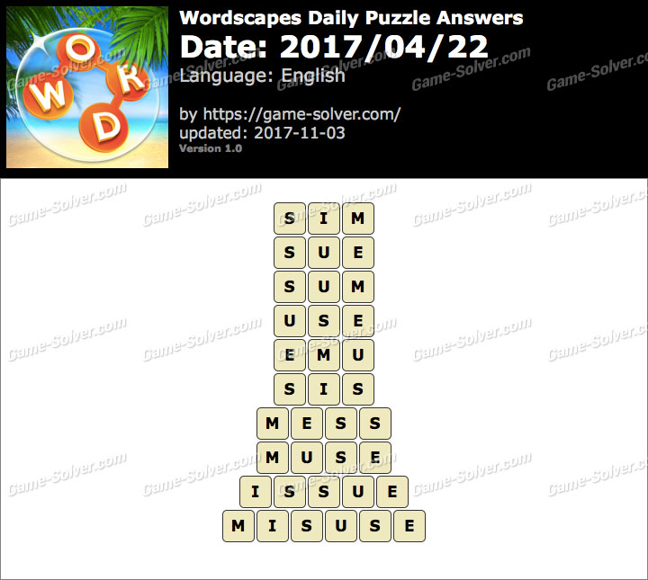 Wordscapes Daily Puzzle 2017 April 22 Answers