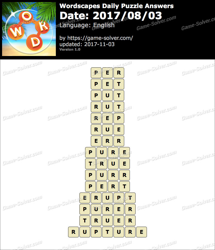 Wordscapes Daily Puzzle 2017 August 03 Answers