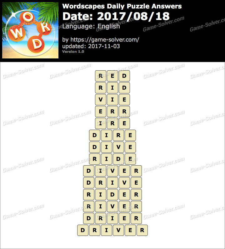Wordscapes Daily Puzzle 2017 August 18 Answers