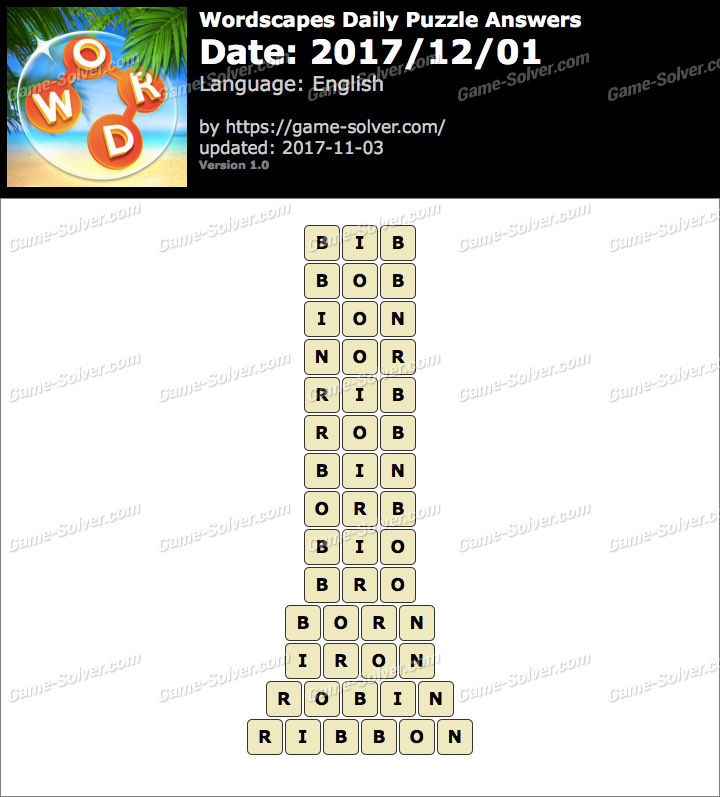 Wordscapes Daily Puzzle 2017 December 01 Answers