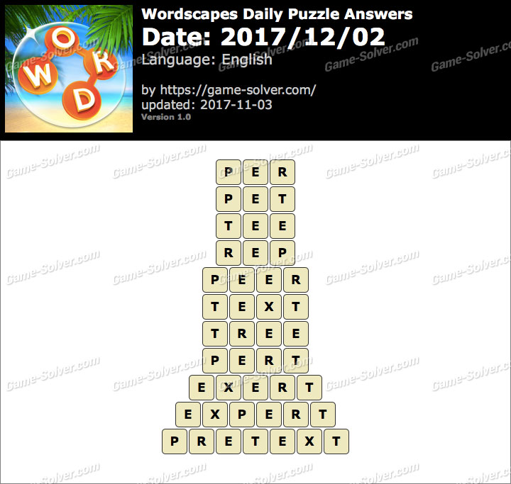 Wordscapes Daily Puzzle 2017 December 02 Answers