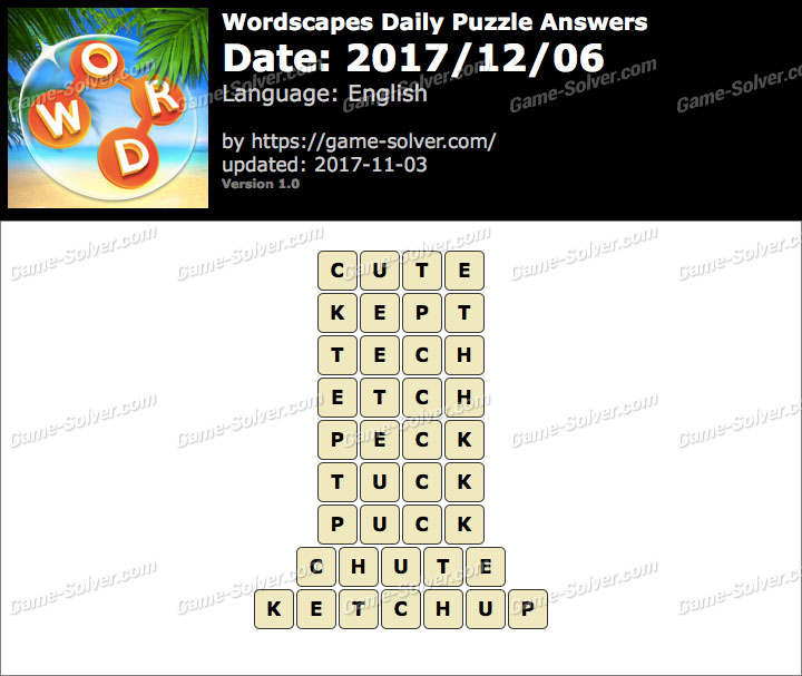 Wordscapes Daily Puzzle 2017 December 06 Answers