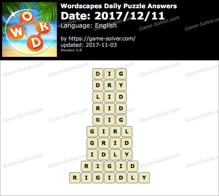 Wordscapes Daily Puzzle 2017 December 11 Answers