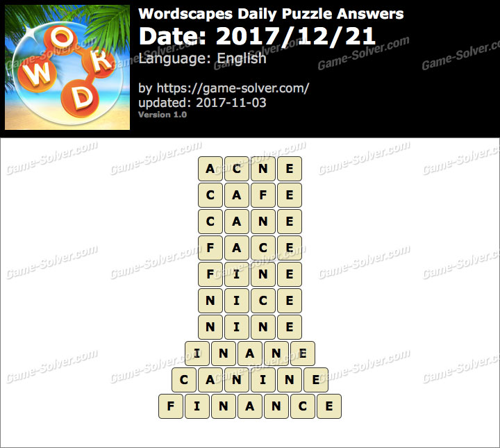 Wordscapes Daily Puzzle 2017 December 21 Answers