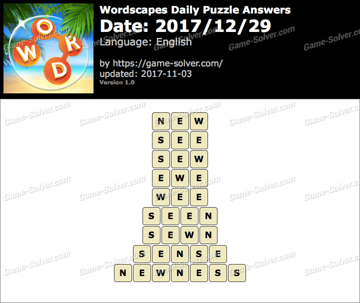 Wordscapes Daily Puzzle 2017 December 29 Answers