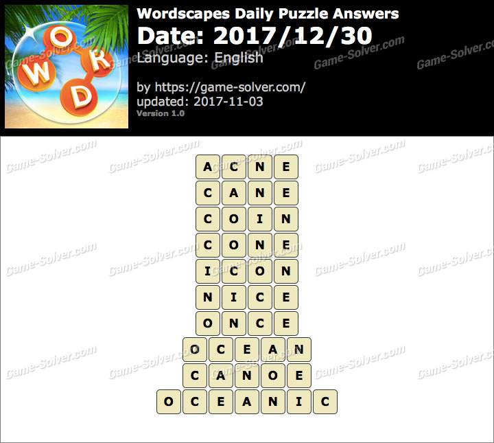 Wordscapes Daily Puzzle 2017 December 30 Answers