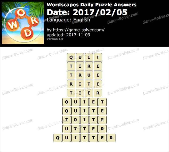 Wordscapes Daily Puzzle 2017 February 05 Answers