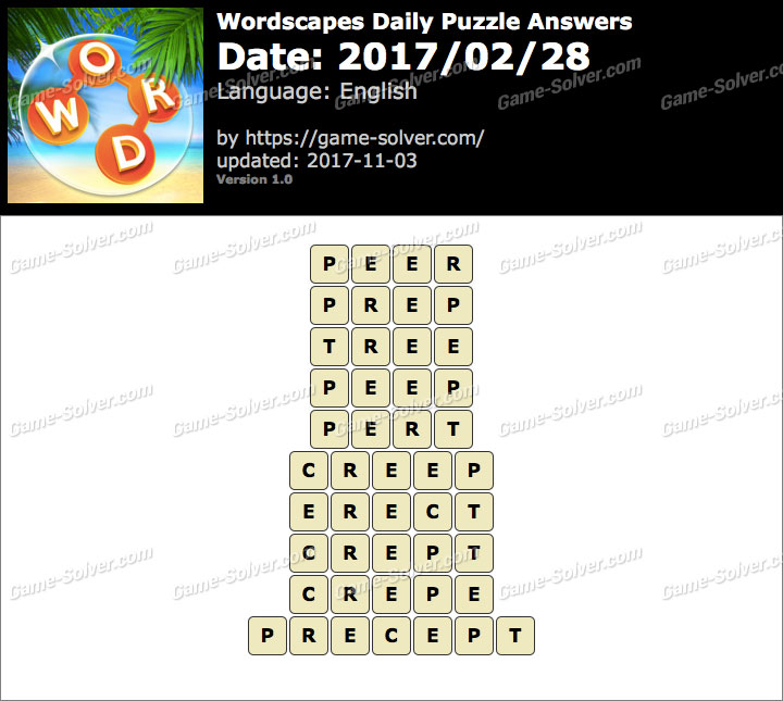 Wordscapes Daily Puzzle 2017 February 28 Answers