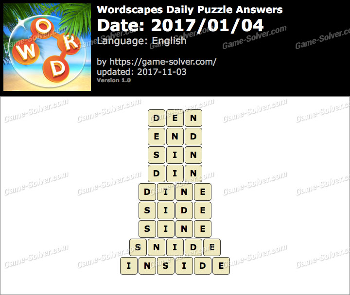 Wordscapes Daily Puzzle 2017 January 04 Answers