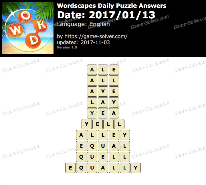 Wordscapes Daily Puzzle 2017 January 13 Answers