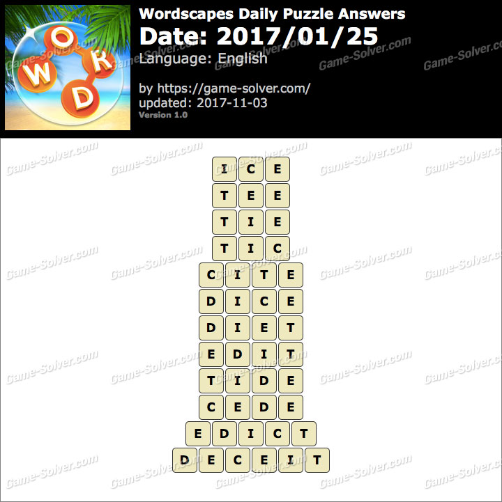 Wordscapes Daily Puzzle 2017 January 25 Answers