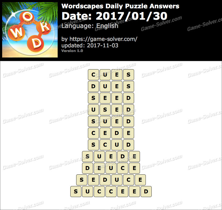 Wordscapes Daily Puzzle 2017 January 30 Answers