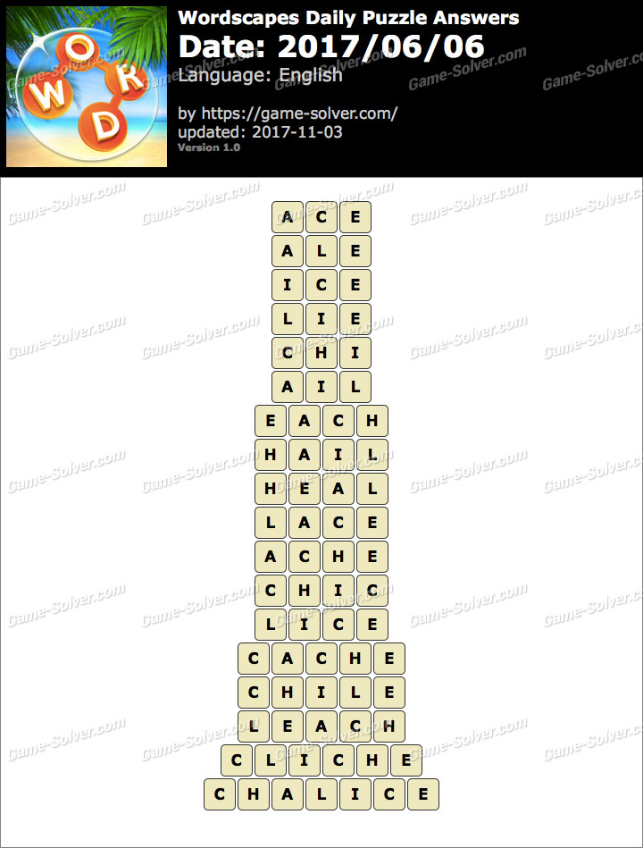 Wordscapes Daily Puzzle 2017 June 06 Answers