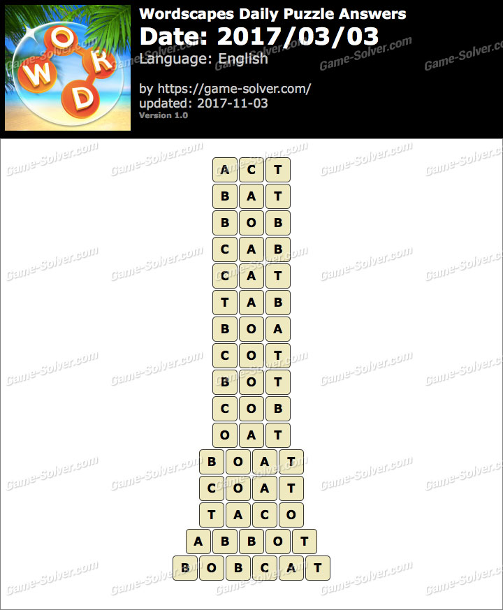 Wordscapes Daily Puzzle 2017 March 03 Answers