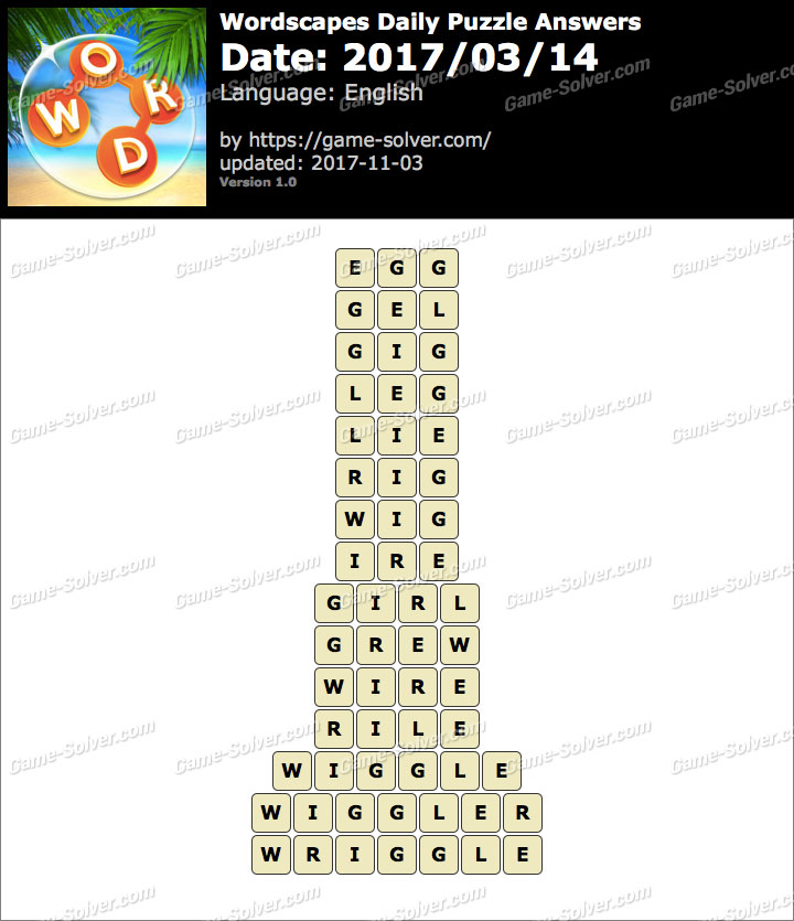 Wordscapes Daily Puzzle 2017 March 14 Answers