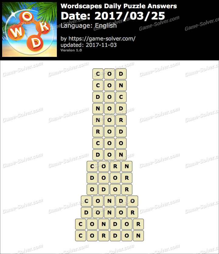 Wordscapes Daily Puzzle 2017 March 25 Answers
