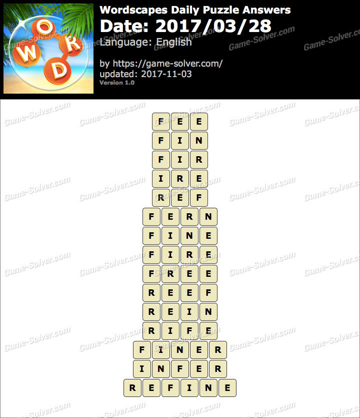 Wordscapes Daily Puzzle 2017 March 28 Answers