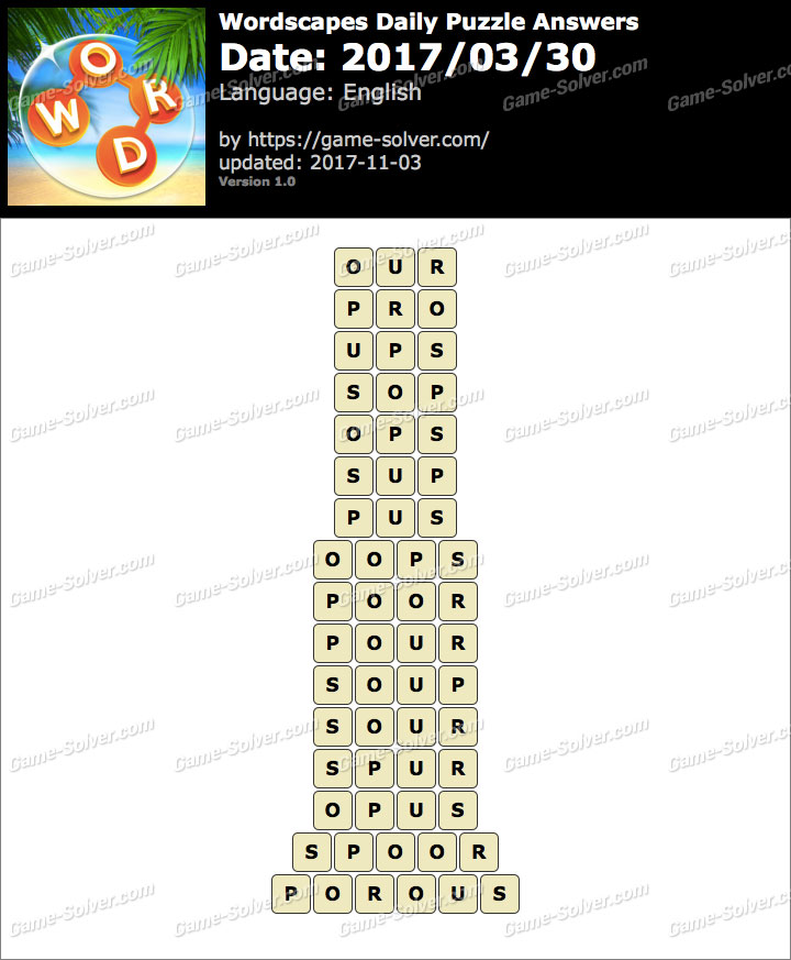 Wordscapes Daily Puzzle 2017 March 30 Answers