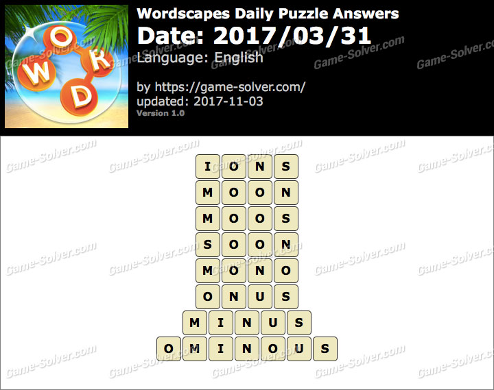 Wordscapes Daily Puzzle 2017 March 31 Answers