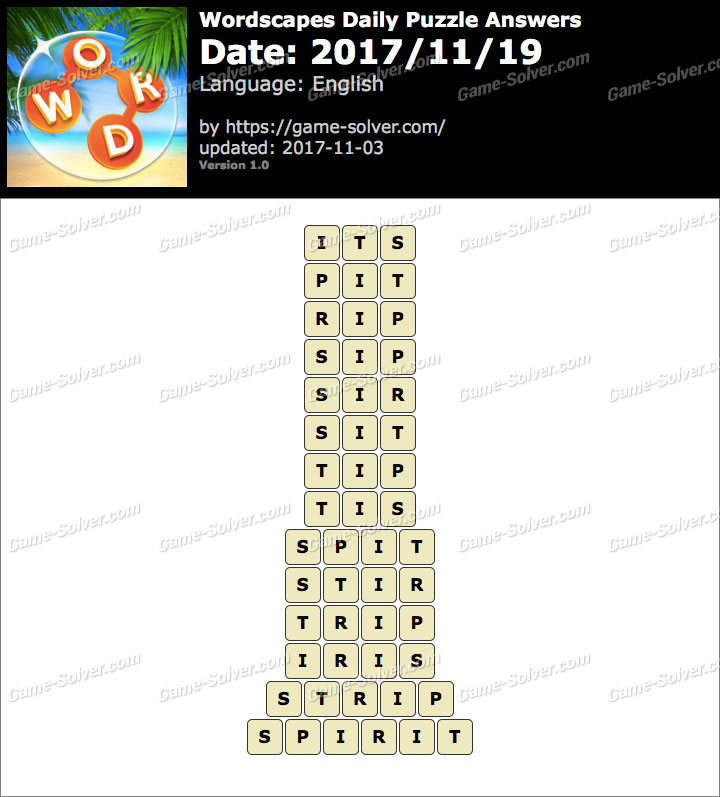 Wordscapes Daily Puzzle 2017 November 19 Answers