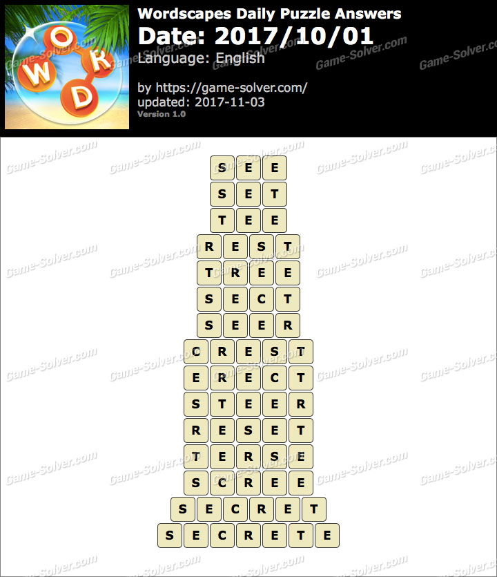 Wordscapes Daily Puzzle 2017 October 01 Answers