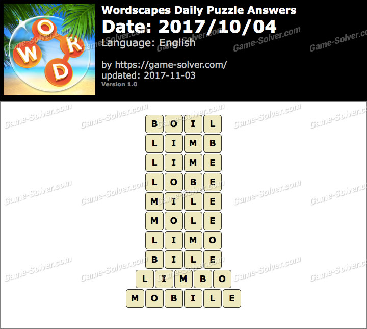 Wordscapes Daily Puzzle 2017 October 04 Answers