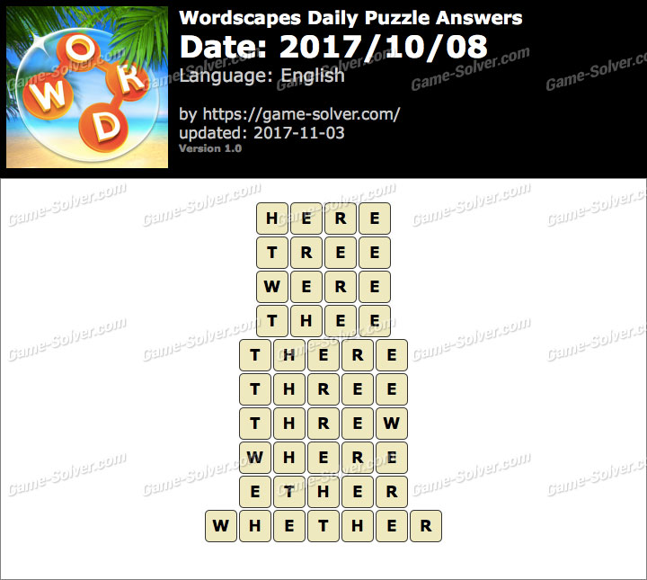 Wordscapes Daily Puzzle 2017 October 08 Answers