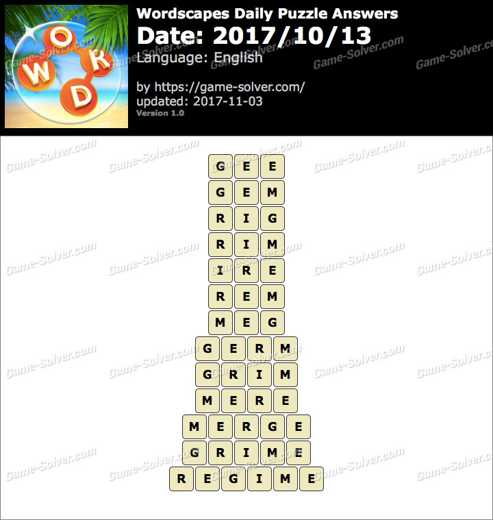 Wordscapes Daily Puzzle 2017 October 13 Answers