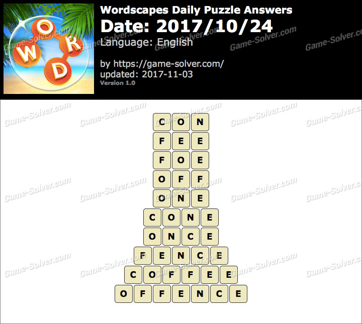 Wordscapes Daily Puzzle 2017 October 24 Answers