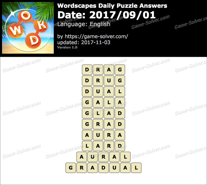 Wordscapes Daily Puzzle 2017 September 01 Answers