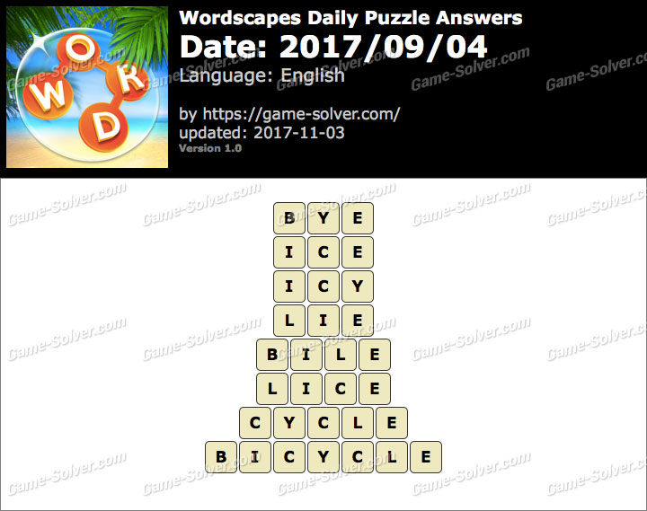 Wordscapes Daily Puzzle 2017 September 04 Answers