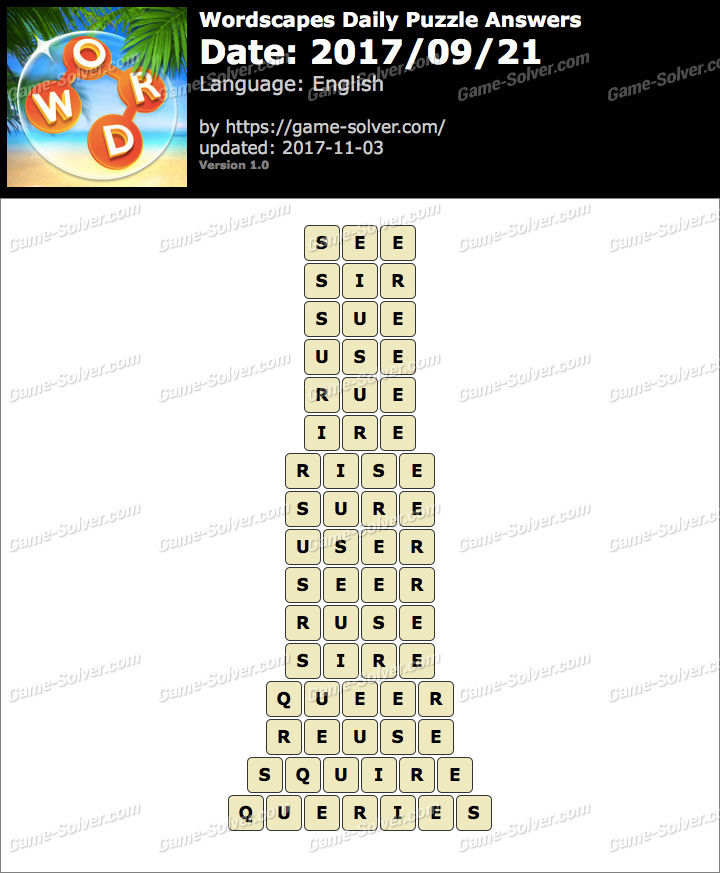 Wordscapes Daily Puzzle 2017 September 21 Answers