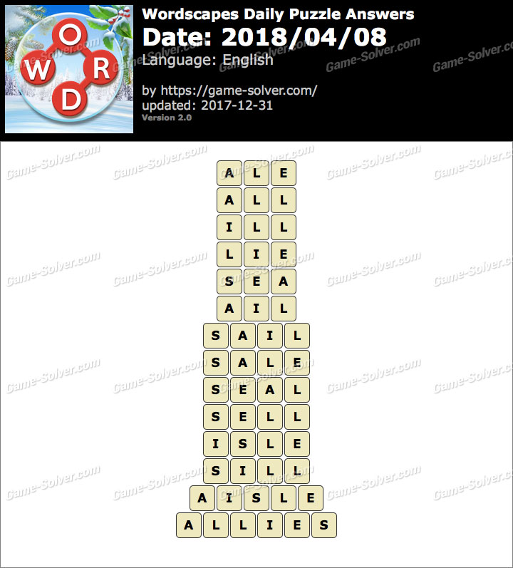 Wordscapes Daily Puzzle 2018 April 08 Answers